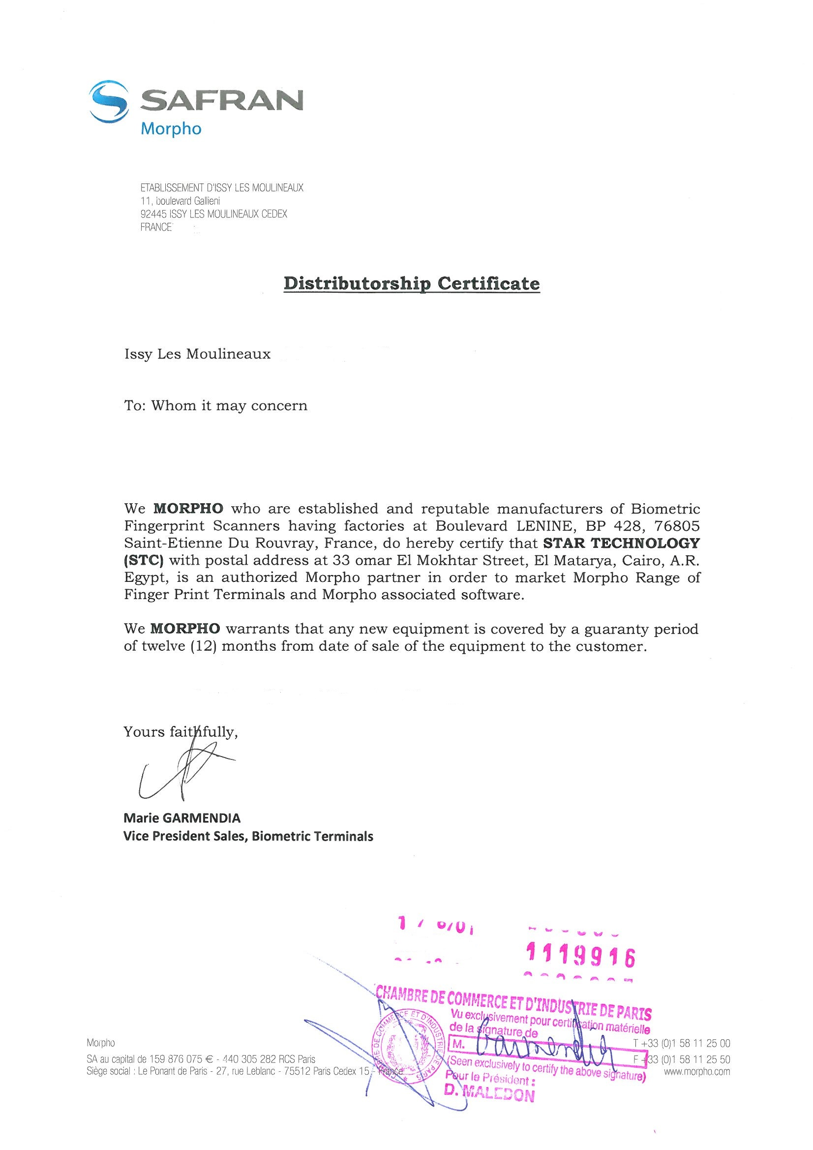 Morpho Distributorship Certificate